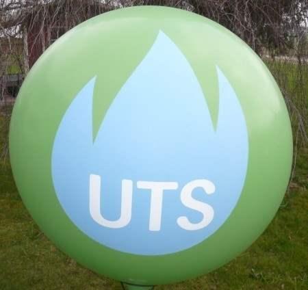 """R450-24-W  Ø~165cm Riesenwerbeluftballon, Ballonfarbe NACH AUSWAHL mit 2seitigem gleichen individuellen 4C Aufdruck, Druck """" nicht passgenau"""" , Ballonstutzen unten"""