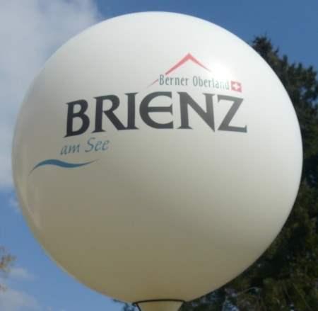 """R450-23-W Ø~165cm Riesenwerbeluftballon, Ballonfarbe nach Angabe mit 2seitigem gleichen individuellen 3C Aufdruck in Siebdruck, Druck """" nicht passgenau"""" , Ballonstutzen unten"""
