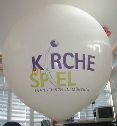 """WR225-23-W Ø~80cm Riesenluftballon individuell gleich bedruckt, Ballonfarbe nach Wahl mit 1seitigem 3C Aufdruck in Siebdrucktechnik """" nicht passgenau"""" , Ballonstutzen unten."""