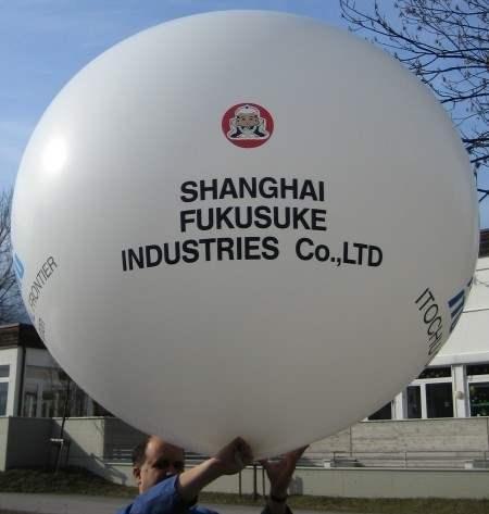 """WR225-14H-G Ø~80cm Riesenluftballon individuell bedruckt, Ballonfarbe nach Wahl mit 1seitigem 4C Aufdruck in Siebdrucktechnik """" nicht passgenau"""" , Ballonstutzen unten."""