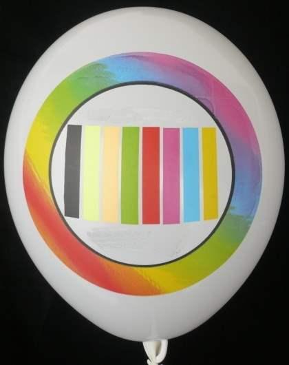 """WR085-2999-16PD/H-G  ~28cm Ballonfarbe MIX nach Auswahl """" passgenau """" individuell bedruckt mit 1seitigem  6farbigen Aufdruck in Siebdrucktechnik, Ballonstutzen unten."""