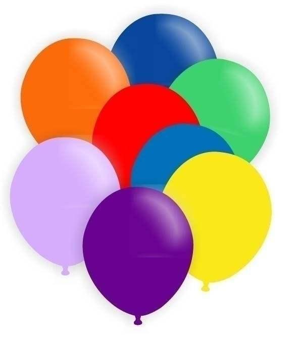 Ø 33cm  Luftballon bunter Mix alle inkl. weiß aber ohne schwarz, Größe 33cm/12inch Modell R100T, Packung zu 100 Stück