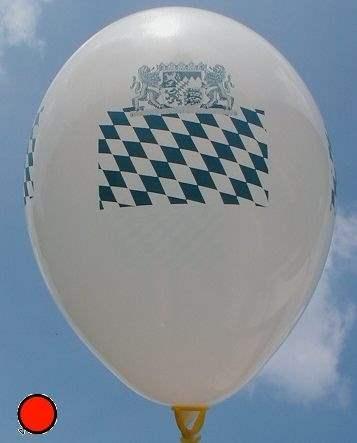 BMR100-2312-41H-V-BY-5 Ø33 Bayerische Flaggenballon in SB-EURO VPE 5St, Ballon Weiß,Druck  Rautenmuster + Bayern Wappen