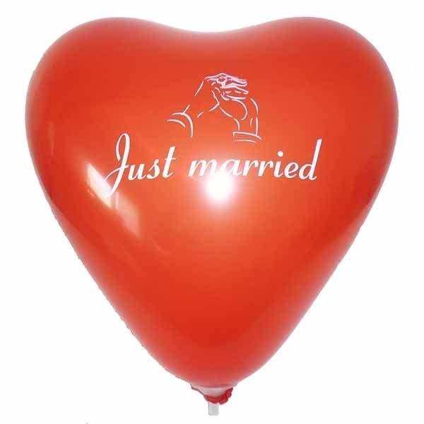 wedding heart motiv just married Ø32cm individual printed two site, Balloons RED