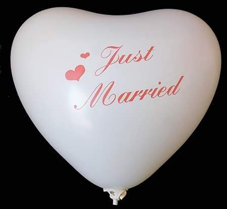 wedding heart motiv just married Ø32cm individual printed two site, Balloons white