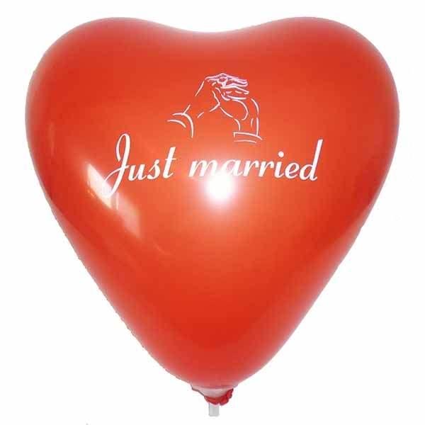 Herz Ø 32cm (12inch) rot Hochzeits Aufdruck Just married + Hände , Aufdruck  in weiß, 2seitig 1farbig, Stutzen unten