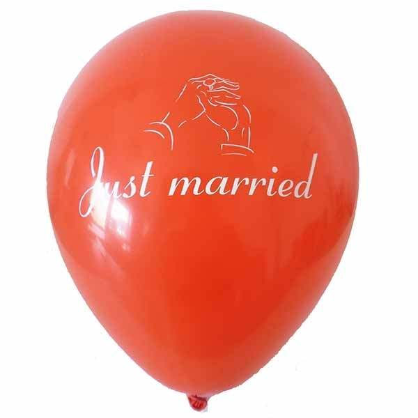 wedding balloon motiv just married Ø32cm individual printed two site, Balloons RED