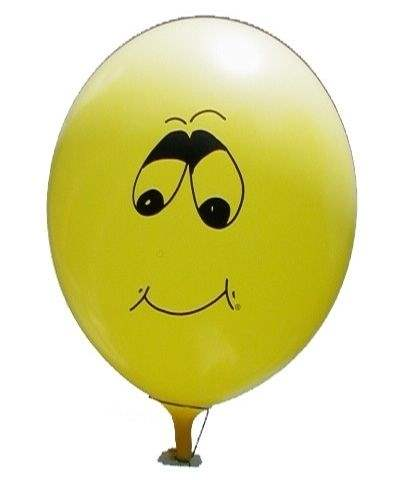 lachendes Gesicht Typ Y09 Ø 33cm (12inch),  MR100-R02-11 GELB - Aufdruck in schwarz, 1seitig 1farbig, Ballon Stutzen unten