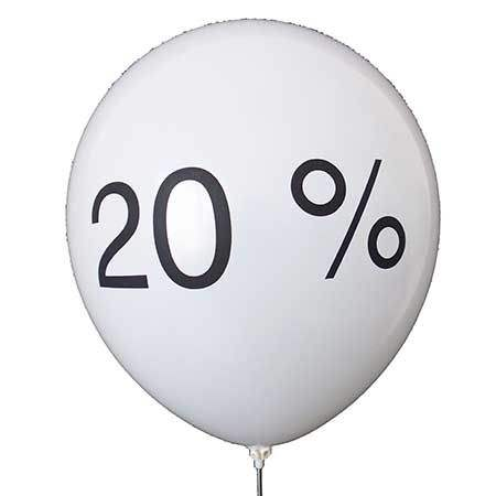 black 20 %  Sale, Balloon white with black 20 %  2 or 3sided 1coloublack printed, balloon spout at the bottom