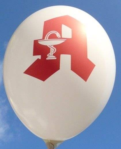 Red PHARMACY, pharmacy Balloon WHITE with red PHARMACY 2 or 3sided 1coloured printed, balloon spout at the bottom