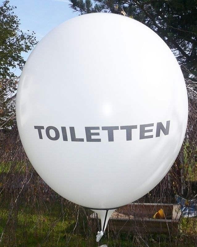 TOILETTEN Ballons mit 33cm/55cm/80cm/100cm/120cm/165cm/210cm  Durchmesser, Aufdruckmit TOILETTEN in schwarz, 2 bzw 3seitig 1farbig bedruckt, BallonStutzen unten.