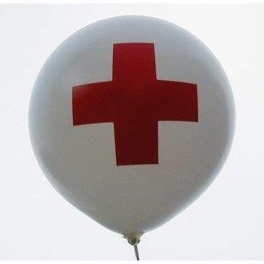 Red Cross, First Aid Balloon WHITE with red CROSS 2 or 3sided 1coloured printed, balloon spout at the bottom