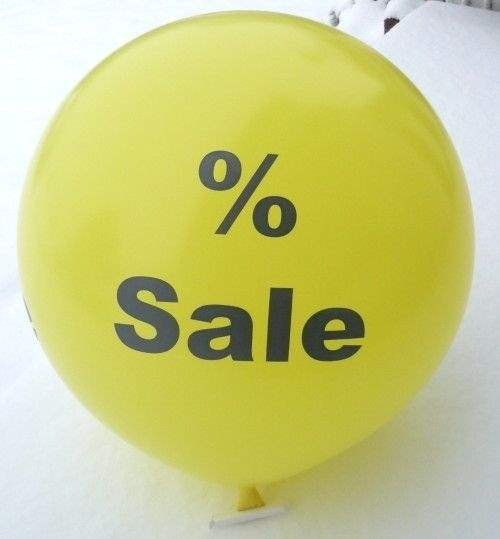black % Sale, % Sale Balloon WHITE with black % Sale 2 or 3sided 1coloublack printed, balloon spout at the bottom