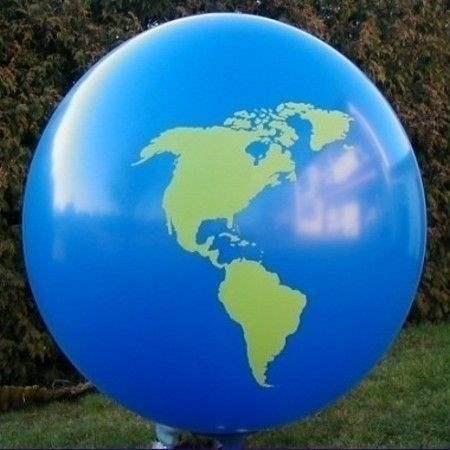 Weltkugel Ø 60cm (24inch),  MR175-21V-WEK01    Riesen-Motivluftballon DUNKELBLAU mit Weltkontinente Europa-Asien-Amerika, Afrika Aufdruck in grün, 2seitig 1farbig unterschiedlich bedruckt, Stutzen unten