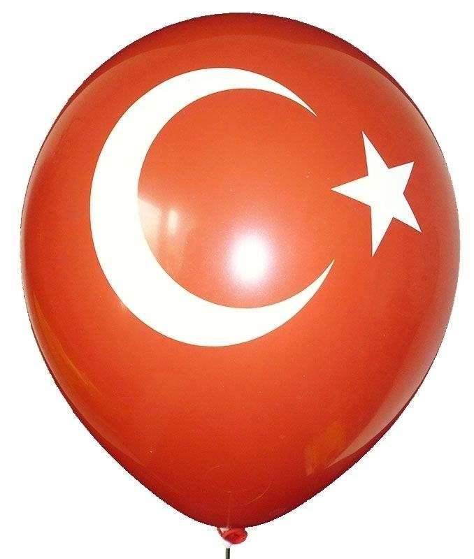Türkei Flagge Ø 30cm und 60cm (12inch / 24inch), Aufdruck  in weiß, 2seitig 1farbig bedruckt, Stutzen unten