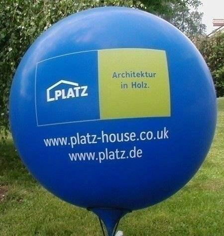 Ø 100cm  SCHWARZ (Sonderfarbe) mit  2seitig  - 2farbig bedruckt Riesenballon WR265-22, Ballonstutzen unten.