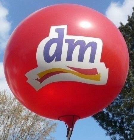 Ø 55cm ROT, 1seitig - 3farbig bedruckt Riesenballon WR150-13,  Ballonstutzen unten
