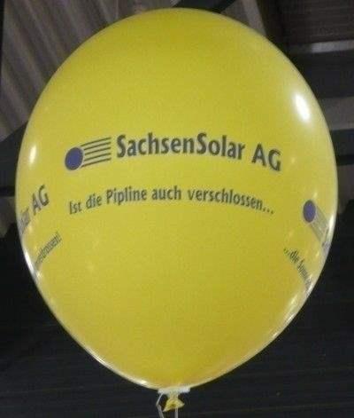 Ø 80cm - GELB, 4seitig gleich bedruckt WR225-41 Riesenluftballon,  Ballonstutzen unten