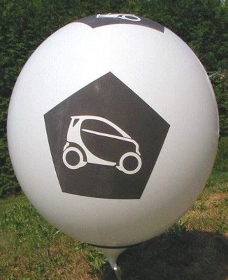 Ø 80cm -  HELLBLAU, 5seitig gleich bedruckt WR225-51 Riesenluftballon,  Ballonstutzen unten