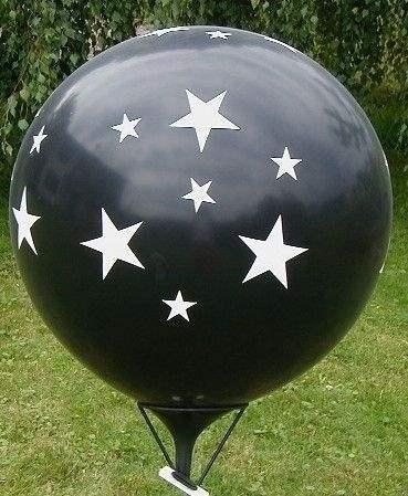 STERNE BALLON Ø 120cm - DUNKELBLAU,  5seitig - 1farbig  bedruckt MR350-51 Riesen Motivballon  mit Sterne rundum, Ballonstutzen unten
