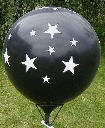 STERNE Ballons mit 33cm/55cm/80cm/100cm/120cm/165cm/210cm  Durchmesser, Aufdruck mit Sterne in weiß, 2 bzw 3seitig 1farbig bedruckt, BallonStutzen unten.