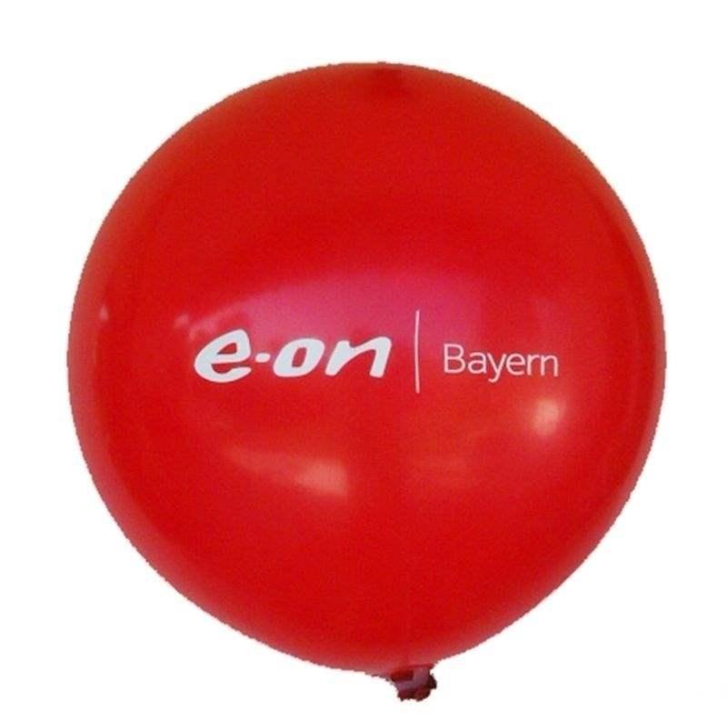 Ø 55cm -  ROT, 3seitig gleich bedruckter WR150-31 Riesenballon, Druckausführung Siebdruck - Ballonstutzen unten
