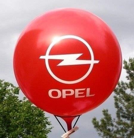 Ø 55cm -  HELLBLAU, 3seitig gleich bedruckter WR150-31 Riesenballon, Druckausführung Siebdruck - Ballonstutzen unten