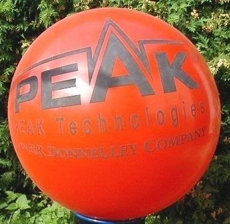 Ø 55cm - ROT, 4seitig gleich bedruckter WR150-41 Riesenballon, Druckausführung Siebdruck - Ballonstutzen unten