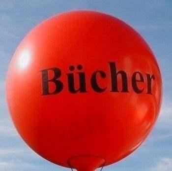 Ø 55cm SCHWARZ, 5seitig 1farbig bedruckter WR150-51 Riesenballon, Ballonstutzen unten