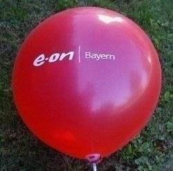 Ø  60cm  ROT , 3seitig 1farbig bedruckter WR175-31 Riesenluftballon, Ballonstutzen unten max. Druckfläche ~30cm