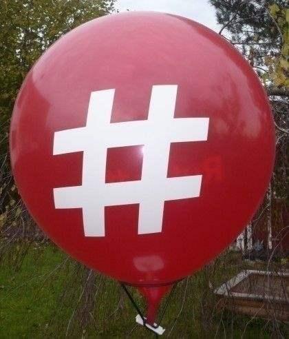 Ø  60cm  ROT , 4seitig 1farbig bedruckter WR175-41 Riesenluftballon, Ballonstutzen unten