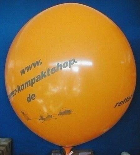 Ø 80cm ORANGE, 2seitig - 2farbig bedruckt Riesenballon WR225-22,  Ballonstutzen unten