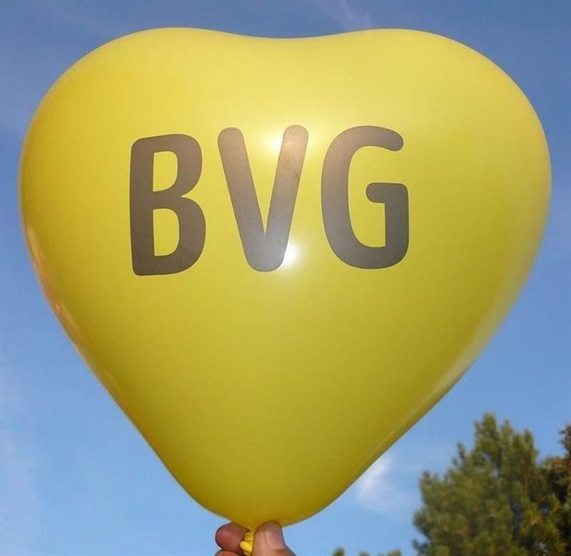 100cm breite Herzballons, extra stark  - GELB - mit Ihrem Wunschaufdruck, 1seitig 2farbig, Typ WH100N XL,  Druck in Siebdrucktechnik