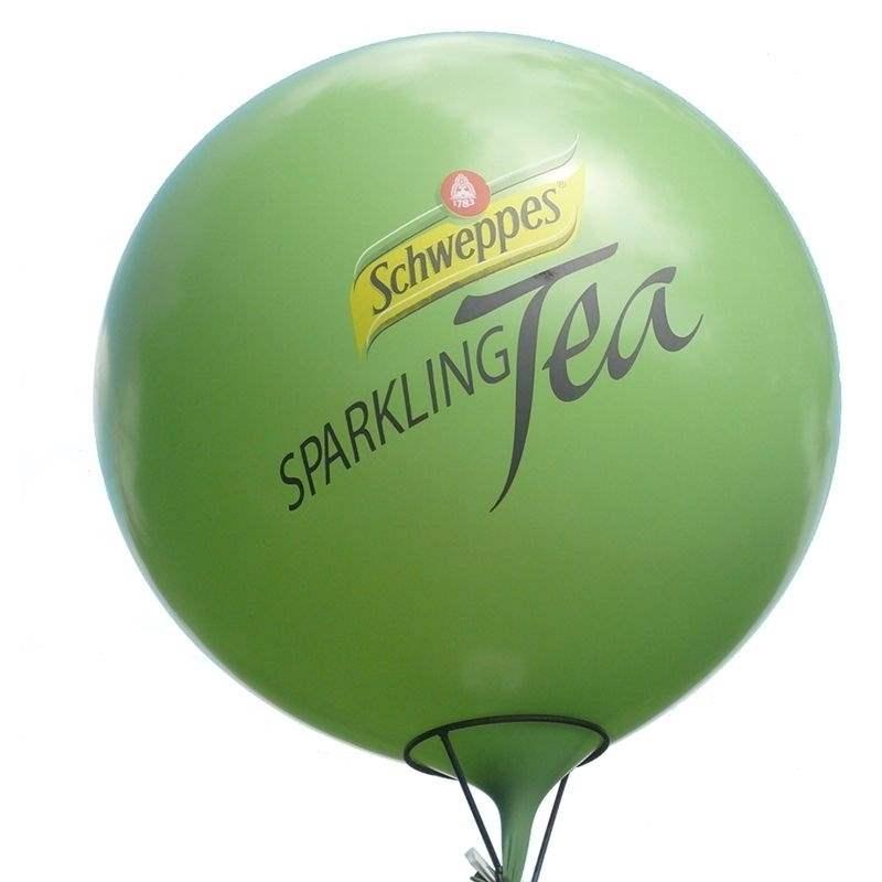 Ø 55cm - 60cm - 80cm - 100cm - 120cm - 165cm - Ø210cm  mit 1-4seitig 3farbig bedruckt,  Riesenballone , Ballonstutzen unten bzw. oben