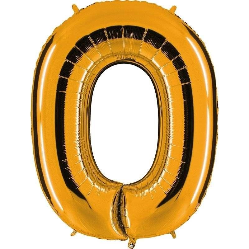 """Zahl 0 GOLD Folienballon 34inch (86cm) Riesenfolienzahl XXL , aufgeblasen 86cm x 66cm hoch(26"""" x 34"""") unaufgeblasen ~ 94cm ohne Zubehör. SB-Verpackt Ideal für Verkausständer"""