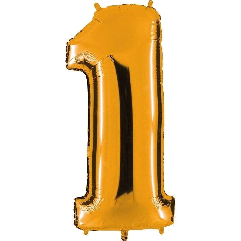 """Zahl 1 GOLD Folienballon 34inch (86cm) Riesenfolienzahl XXL , aufgeblasen 86cm x 66cm hoch(26"""" x 34"""") unaufgeblasen ~ 94cm ohne Zubehör. SB-Verpackt Ideal für Verkausständer"""