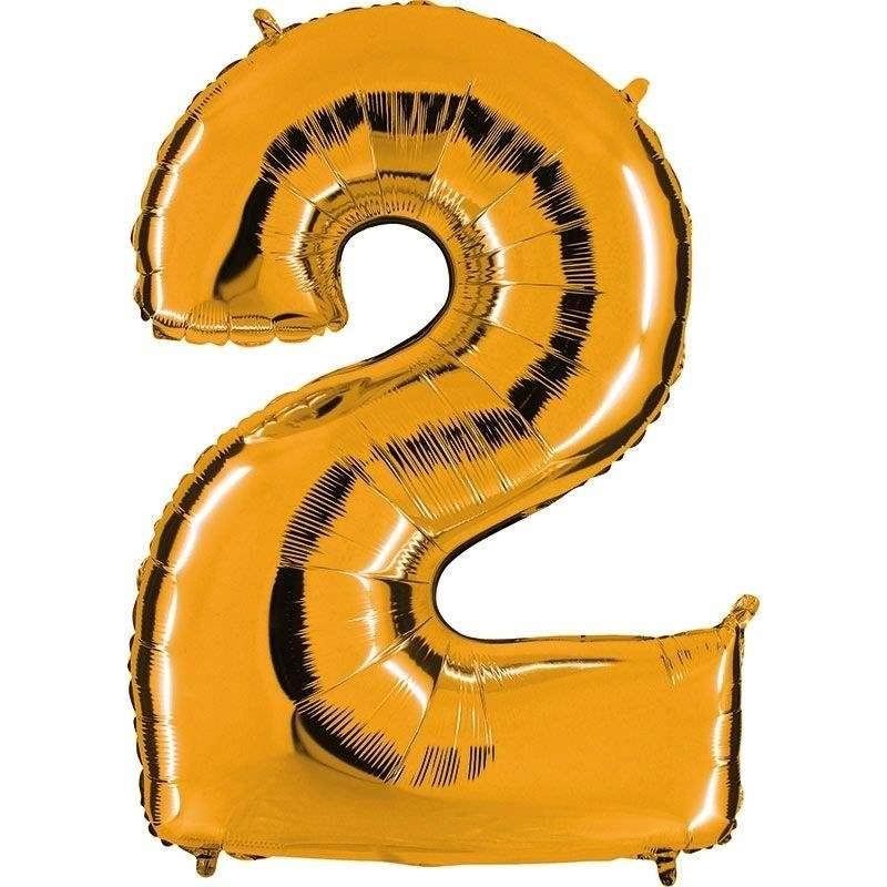 """Zahl 2 GOLD Folienballon 34inch (86cm) Riesenfolienzahl XXL , aufgeblasen 86cm x 66cm hoch(26"""" x 34"""") unaufgeblasen ~ 94cm ohne Zubehör. SB-Verpackt Ideal für Verkausständer"""