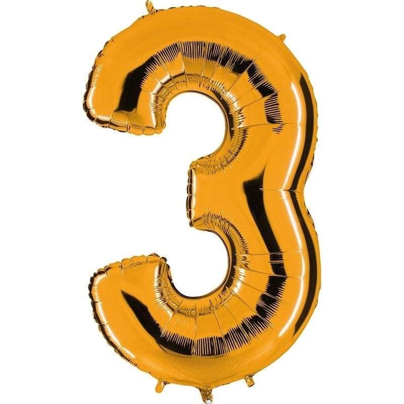 """Zahl 3 GOLD Folienballon 34inch (86cm) Riesenfolienzahl XXL , aufgeblasen 86cm x 66cm hoch(26"""" x 34"""") unaufgeblasen ~ 94cm ohne Zubehör. SB-Verpackt Ideal für Verkausständer"""