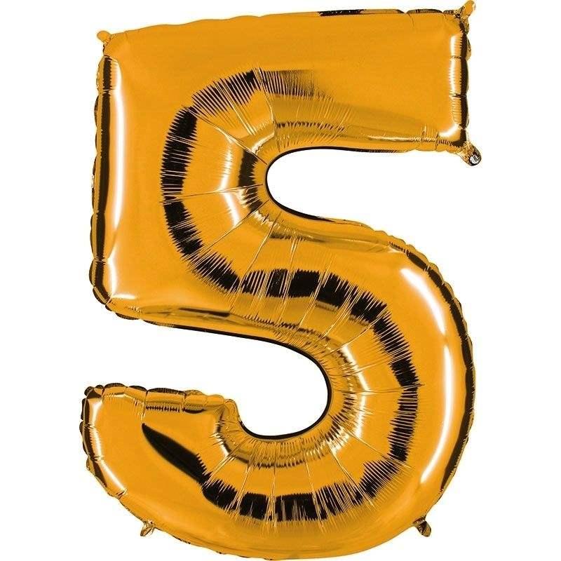 """Zahl 5 GOLD Folienballon 34inch (86cm) Riesenfolienzahl XXL , aufgeblasen 86cm x 66cm hoch(26"""" x 34"""") unaufgeblasen ~ 94cm ohne Zubehör. SB-Verpackt Ideal für Verkausständer"""