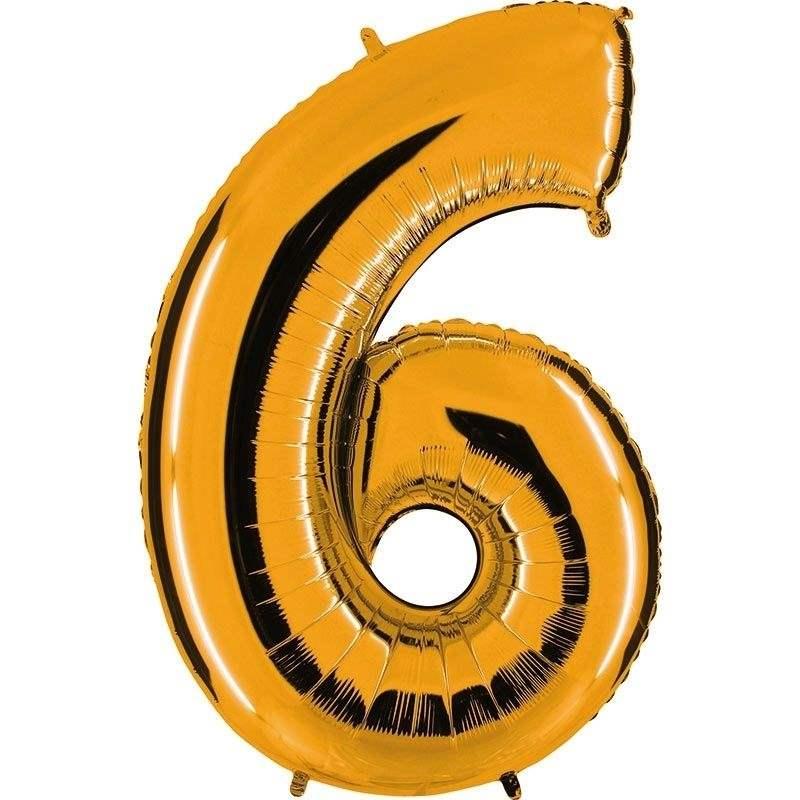 """Zahl 6 GOLD Folienballon 34inch (86cm) Riesenfolienzahl XXL , aufgeblasen 86cm x 66cm hoch(26"""" x 34"""") unaufgeblasen ~ 94cm ohne Zubehör. SB-Verpackt Ideal für Verkausständer"""