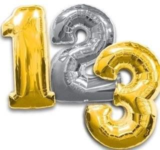 """Zahl 0-9 in GOLD und Silber Ballon 34inch (86cm) Riesenfolienzahl XXL , aufgeblasen 86cm x 58cm hoch(23"""" x 34"""") unaufgeblasen ~ 94cm ohne Zubehör. SB-Verpackt Ideal für Verkausständer"""
