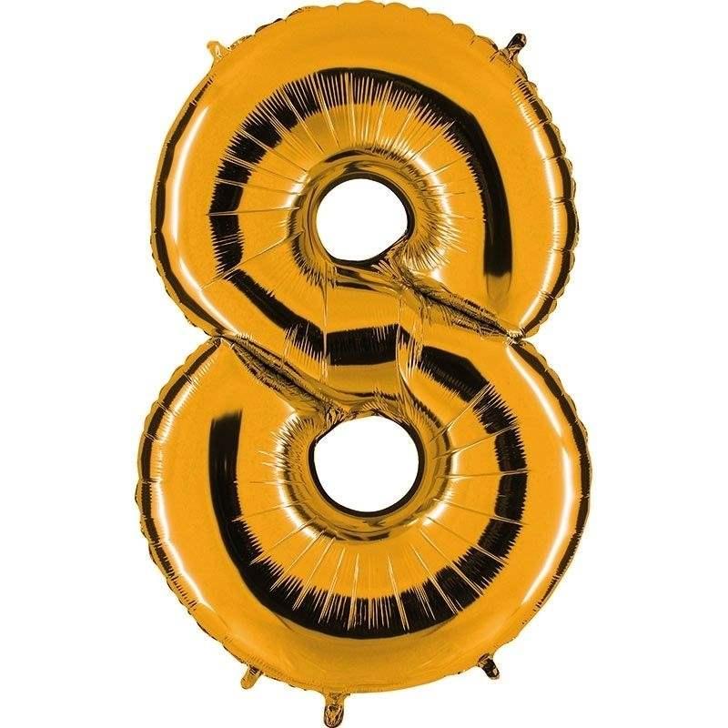 """Zahl 8 GOLD Folienballon 34inch (86cm) Riesenfolienzahl XXL , aufgeblasen 86cm x 66cm hoch(26"""" x 34"""") unaufgeblasen ~ 94cm ohne Zubehör. SB-Verpackt Ideal für Verkausständer"""