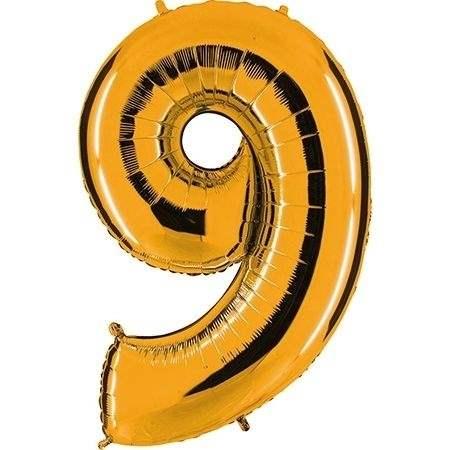 """Zahl 9 GOLD Folienballon 34inch (86cm) Riesenfolienzahl XXL , aufgeblasen 86cm x 66cm hoch(26"""" x 34"""") unaufgeblasen ~ 94cm ohne Zubehör. SB-Verpackt Ideal für Verkausständer"""