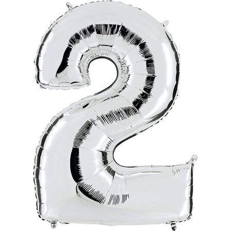 """Zahl 2 SILBER Folienballon 34inch (86cm) Riesenfolienzahl XXL , aufgeblasen 86cm x 66cm hoch(26"""" x 34"""") unaufgeblasen ~ 94cm ohne Zubehör. SB-Verpackt Ideal für Verkausständer"""