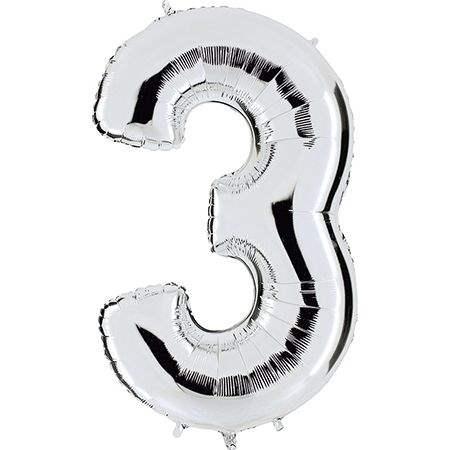 """Zahl 3 SILBER Folienballon 34inch (86cm) Riesenfolienzahl XXL , aufgeblasen 86cm x 66cm hoch(26"""" x 34"""") unaufgeblasen ~ 94cm ohne Zubehör. SB-Verpackt Ideal für Verkausständer"""