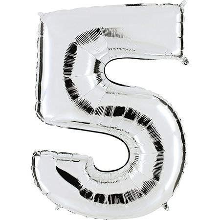 """Zahl 5 SILBER Folienballon 34inch (86cm) Riesenfolienzahl XXL , aufgeblasen 86cm x 66cm hoch(26"""" x 34"""") unaufgeblasen ~ 94cm ohne Zubehör. SB-Verpackt Ideal für Verkausständer"""