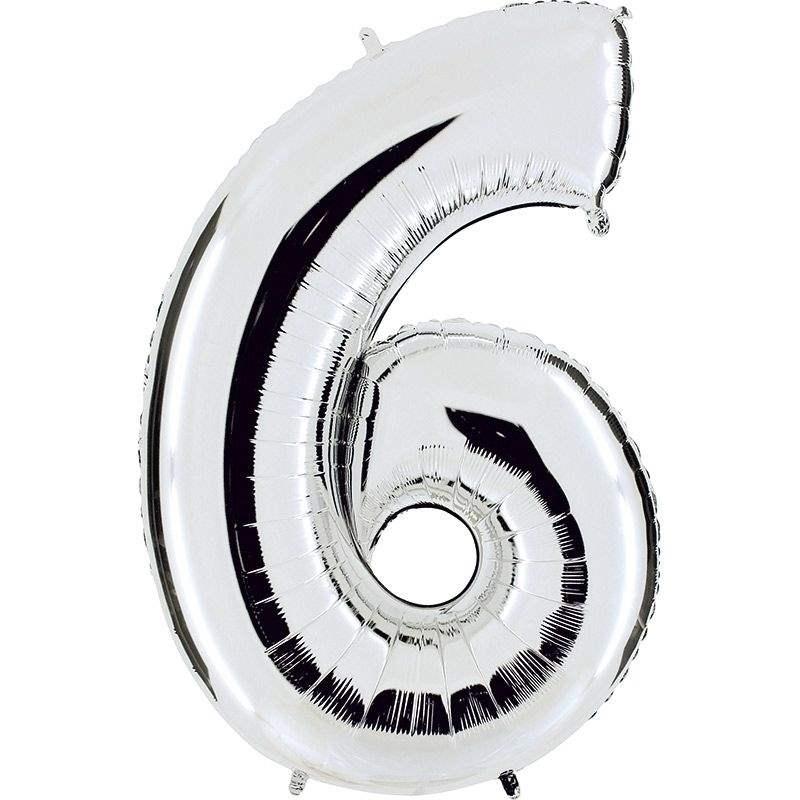 """Zahl 6 SILBER Folienballon 34inch (86cm) Riesenfolienzahl XXL , aufgeblasen 86cm x 66cm hoch(26"""" x 34"""") unaufgeblasen ~ 94cm ohne Zubehör. SB-Verpackt Ideal für Verkausständer"""