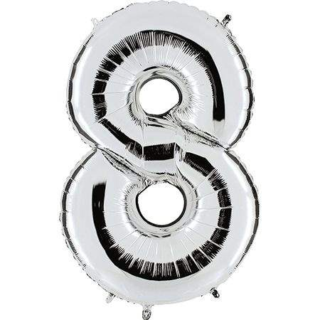 """Zahl 8 SILBER Folienballon 34inch (86cm) Riesenfolienzahl XXL , aufgeblasen 86cm x 66cm hoch(26"""" x 34"""") unaufgeblasen ~ 94cm ohne Zubehör. SB-Verpackt Ideal für Verkausständer"""