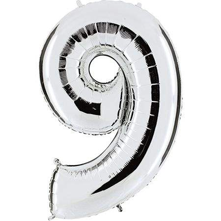 """Zahl 9 SILBER Folienballon 34inch (86cm) Riesenfolienzahl XXL , aufgeblasen 86cm x 66cm hoch(26"""" x 34"""") unaufgeblasen ~ 94cm ohne Zubehör. SB-Verpackt Ideal für Verkausständer"""