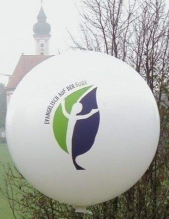 Ø 55cm  ROT, 2seitig 2farbig gleich bedruckter Riesenballon WR150-22,  Ballonstutzen unten